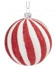 photo Boule de Noël à paillettes blanches et dorées - Lot de 12