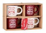 photo Coffret 4 tasses en grès blanc et rouge