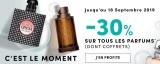 30% de reduction sur les parfums jusquau 18/09