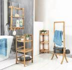 photo étagère de salle de bain en bambou