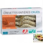 crevettes entieres tropicales crues label rouge asc