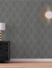 papier peint faustine 100% intisse motif art deco gris ant
