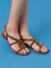 sandales cuir de chevre imprime a petit talon lemna