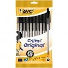 lot de 10 stylos cristal - bic - noir