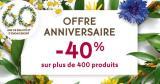 offre anniversaire -40% sur plus de 400 produits