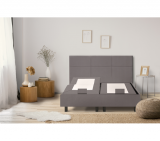 epeda sommier relaxation 2x90x200 cm zen tissu gris taupe