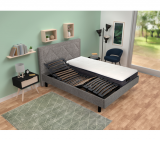 signature sommier relax 2x80x200 cm thermorelax gris chineacute