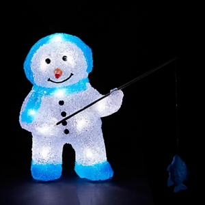 bonhomme de neige pecheur lumineux a led - h30cm pecheur