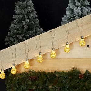 guirlande lumineuse de 8 ampoules dorees - led -l3m50 paille