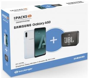 Smartphone Samsung Pack A50 Blanc + Enceinte JBL GO 2