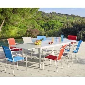 hyba - ensemble 1 table et 8 fauteuils