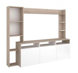 Conforama Promo Meuble Tv Haut A Niche 204 Cm Rio Coloris Blanc Chene