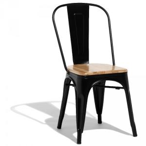 chaise empilable fabrik noir et naturel