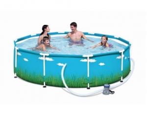 piscine tubulaire imprime nuage herbe o 305xh76 cm