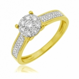 bague en or jaune rhodie et diamants
