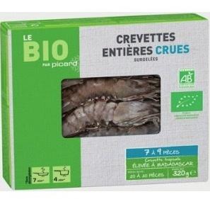 Crevettes entières crues bio (7-9 pièces)