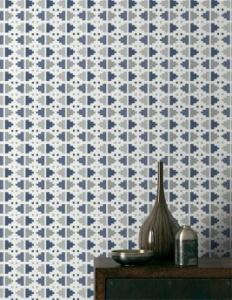 papier peint ikat by edito vinyle sur intisse bleu